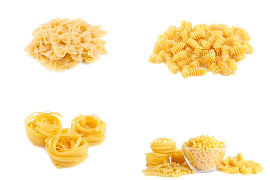 Pasta collection isolated on white background. Different pasta