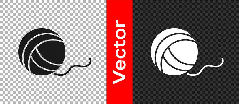 Black Yarn ball icon isolated on transparent background. Label for hand made, knitting or tailor shop. Vector