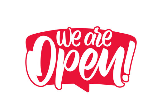Vector illustration: Door sign with Handwritten calligraphic lettering of We are Open.