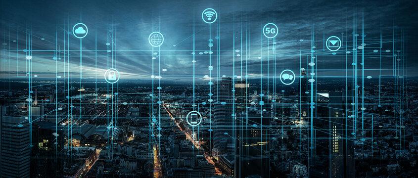 Digitale Infrastruktur in einer Großstadt