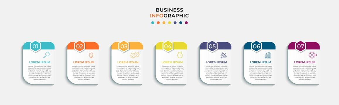 Vector Infographic design business template with icons and 7 options or steps. Can be used for process diagram, presentations, workflow layout, banner, flow chart, info graph