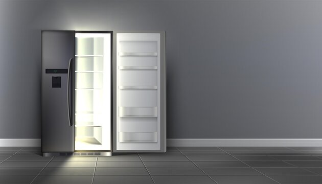 3d realistic vector open empty fridge with shelves in the room.