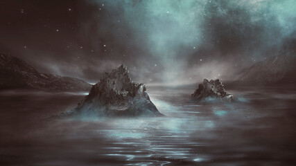 Futuristic fantasy night landscape with abstract landscape and island, light triangle, glow, neon. Dark natural scene with light reflection in water. Neon space galaxy portal.