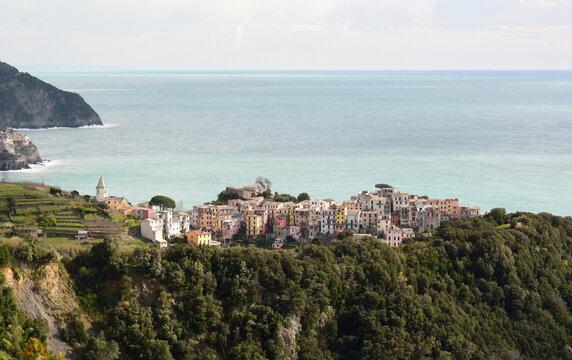 Scenic view of Corniglia. Cinque Terre national park. Liguria. Italy