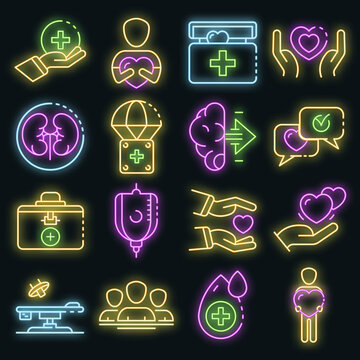 Donate organs icons set. Outline set of donate organs vector icons neon color on black