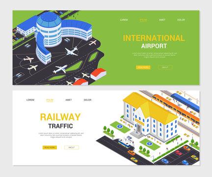 International airport and railway traffic - isometric web banners