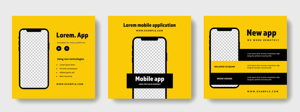 smartphone mockup square layouts for social media, yellow graphic design for instagram and facebook to promoting mobile application