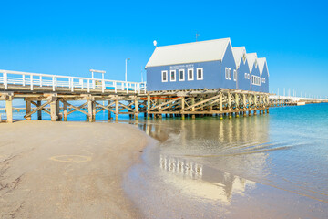 Busselton, Australia - Jan 1, 2018: Busselton Jetty in Busselton Beach, WA, reflected on the sea. At 1841 metres, the jetty is said to be the longest wooden structure in the southern hemisphere.
