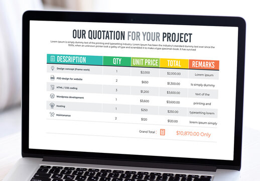 Project Price Quotation with Table Design