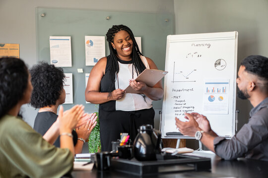 black business woman giving flipchart presentation in the office. .
