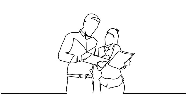 Continuous line drawing of woman and man standing talking about work. Single continuous line drawing of two woman startup founders have a business talk. Business chat concept one line draw design.