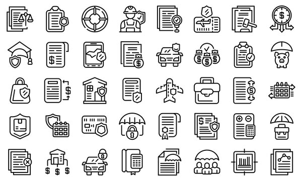 Liability icons set. Outline set of liability vector icons for web design isolated on white background