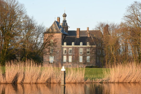 Sunset on Medieval castle of Laag Keppel near river Oude IJssel