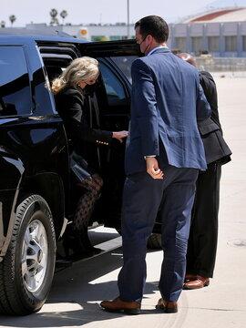 U.S. first lady Jill Biden arrives to board a plane departing from Meadows Field Airport in Bakersfield, California