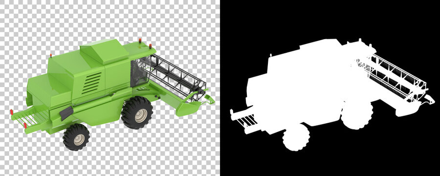 Harvester isolated on background with mask. 3d rendering - illustration