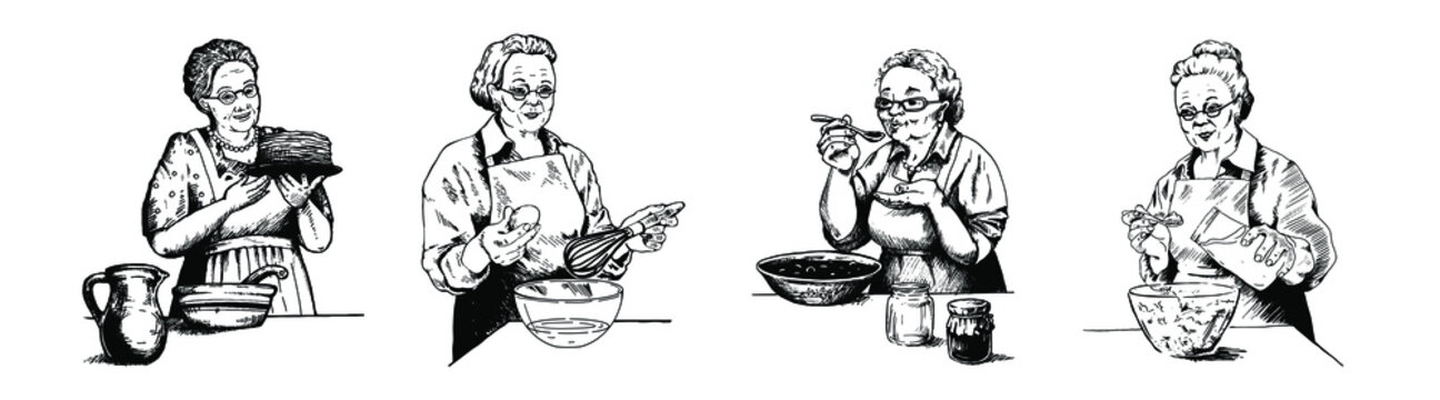A set of images of grandmothers in a sketch style. Elderly ladies make jam, bake pancakes, beat eggs, dress salad with mayonnaise. Vector illustration, black and white isolated line art.