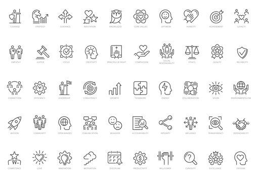 Core Values Line Icon Set