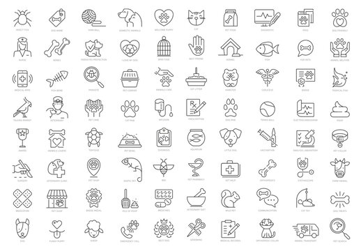 Pet and Vet Line Icon Set