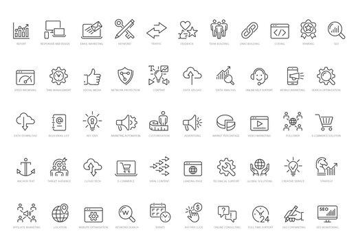 Seo Vector Line Icon Set