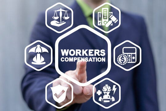 Concept of worker compensation. Benefit and claim compensation for employee of injury. Workers health safety.