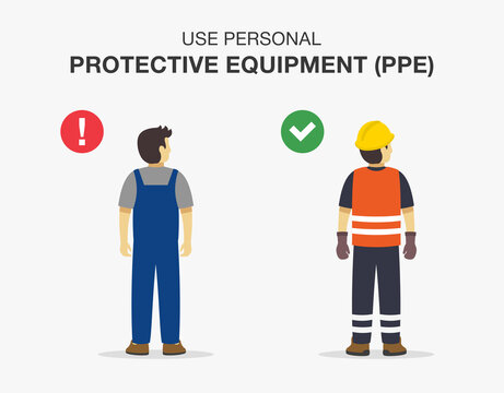 Workplace golden safety rule. Use personal protective equipment warning poster design. Flat vector illustration template.