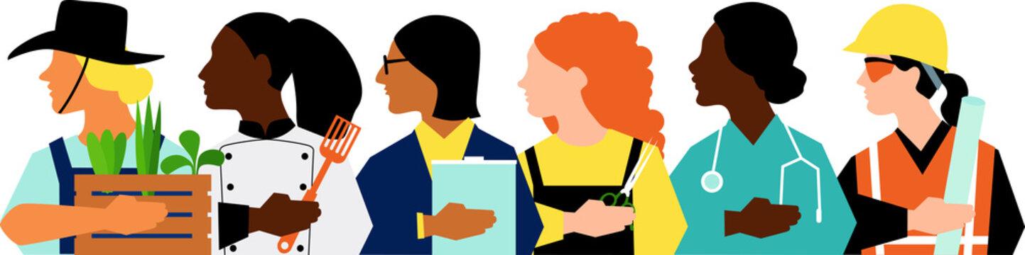 Profiles of female entrepreneurs in different fields, EPS 8 vector illustration