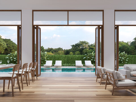 Modern living and dining room with pool terrace background 3d render,The Rooms have wooden floors ,decorate with white furniture,There are large open door Overlooking  swimming pool and nature view.