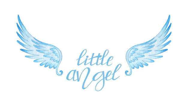 Watercolor illustration of handwritten blue text little angel and wings. Hand lettering for poster, banner, logo, prints, baby clothes, greeting cards. Motivational quote typography design. Isolated