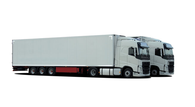 Two large trucks with semi trailer on a white background