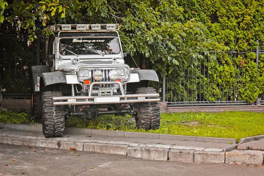 Kiev, Ukraine - September 2, 2017: Jeep Wrangler in the open air. Off-road car. SUV