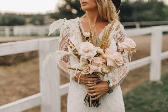 Wedding bouquet of the bride, boho style