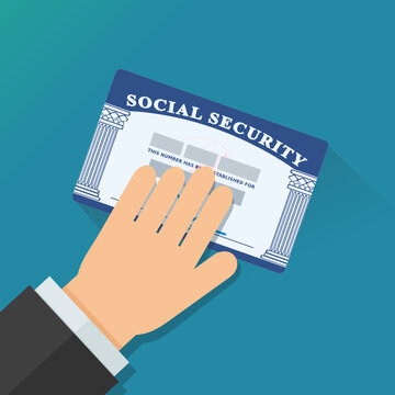 A hand presents his American social security card (flat design)