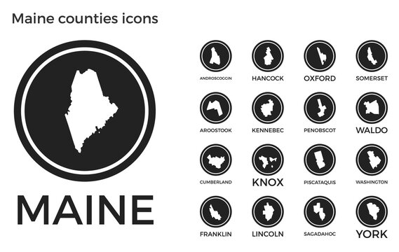 Maine counties icons. Black round logos with us state counties maps and titles. Vector illustration.
