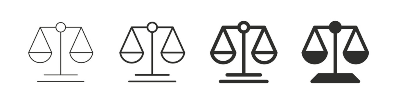 Scale icon. Scales of justice flat icon set. Vintage scale in balance and equilibrium. Vector icon of justice scales collection design. Vector illustration
