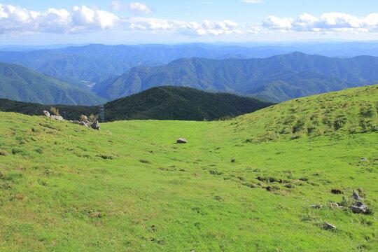 四国カルスト 草原と山々