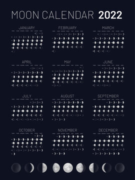 Moon calendar 2022 year lunar phases blue backdrop. Monthly cycle planner, astrology, astronomy poster, banner, card design template vector illustration