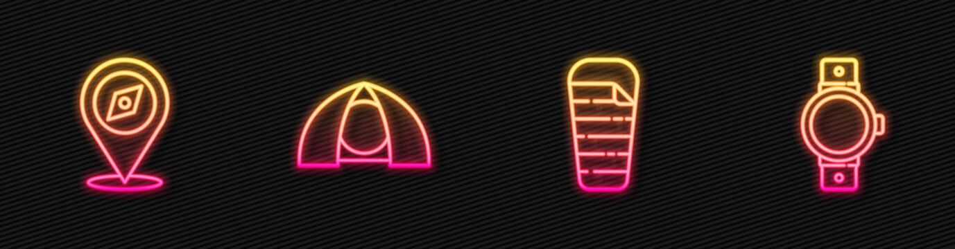 Set line Sleeping bag, Compass, Tourist tent and Smartwatch. Glowing neon icon. Vector