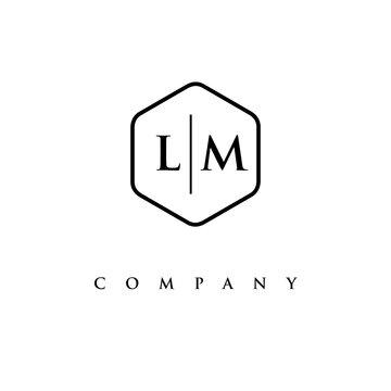initial LM logo design vector