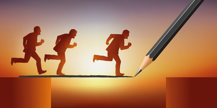 Concept of management and leadership in a company, with 3 men who run after success by crossing an obstacle, guided by power.