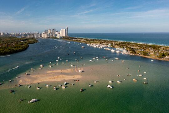 Aerial view low tide at the Haulover sandbar Miami Beach FL