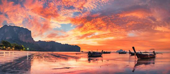 Printed kitchen splashbacks Asia Country Traditional thai boats at sunset beach. Ao Nang Krabi province