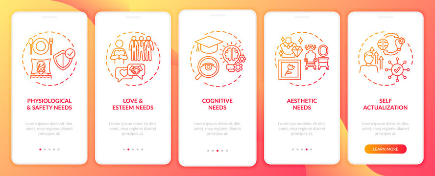 Human being needs red onboarding mobile app page screen with concepts. Self-actualization walkthrough 5 steps graphic instructions. UI, UX, GUI vector template with linear color illustrations