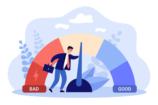 Male businessman with credit score scale. Young man changing personal financial account information from poor to good. Financial growth, career. Business reputation flat vector colorful illustration