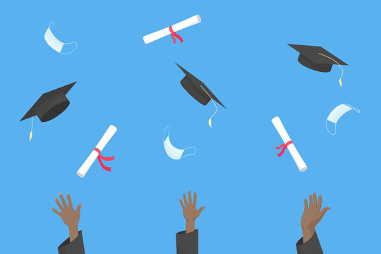 African students throw mortarboards, diplomas and medical masks into air. Graduation ceremony 2021. Vector illustration.