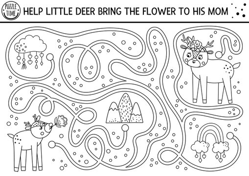 Mothers day black and white maze for children. Holiday preschool printable activity. Funny family love game with cute animals. Mother and baby labyrinth or coloring page with little deer and flower. .