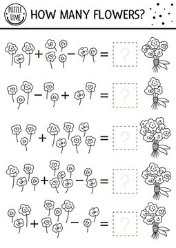 Mothers day black and white matching game with flowers. Holiday math line activity for preschool children with bouquet. Educational printable counting worksheet or coloring page for kids.