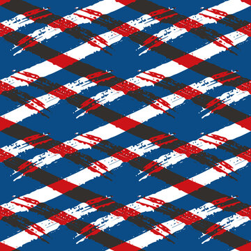 Vector abstract wicker weave effects seamless interlace pattern background. Painterly diagonal brush stroke lines lattice. Blue red white backdrop. Geometric grid repeat for summer, nautical concept