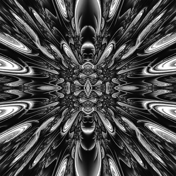Abstract Black & White Layered Fractal Background - not sure where to look first, this intricate design will keep you guessing. Many layers with multiple shapes. Perfect black & white composition.