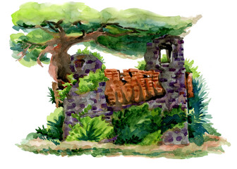 Ruins of an old castle. Watercolor drawing. Sunny day landscape. Old building. Fototapete