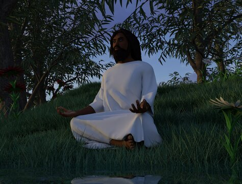 Black Jesus Christ with white robe meditating in a landscape with flowers, grass, trees, and water.  3d Render